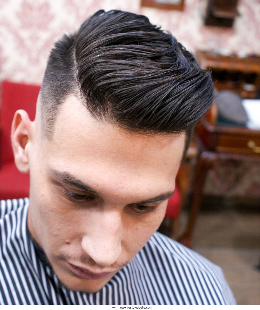 Comb Over Fade hairstyle for men with thick hair