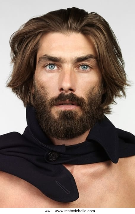 Curtain Hairstyle with Beard